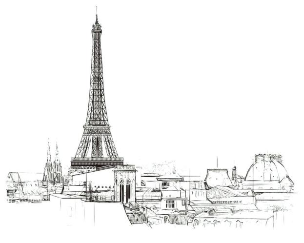 Illustration of the Eiffel tower, showing the efficacy of imagery versus text in an animated video marketing strategy