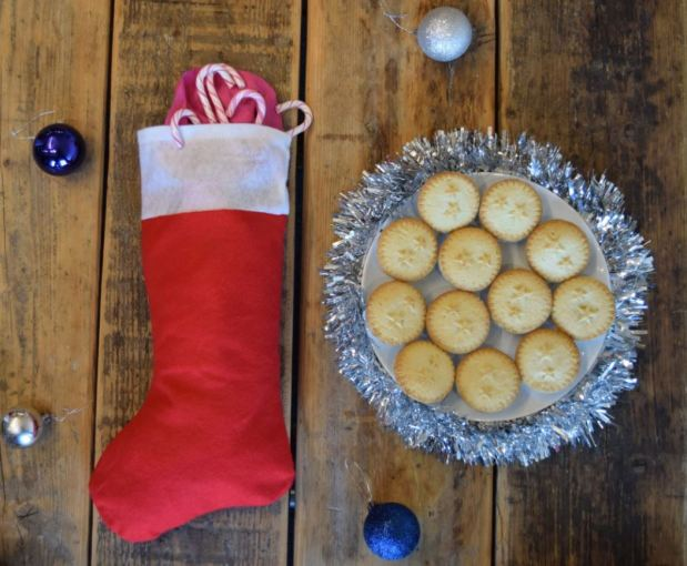 Christmas stocking and mince pies