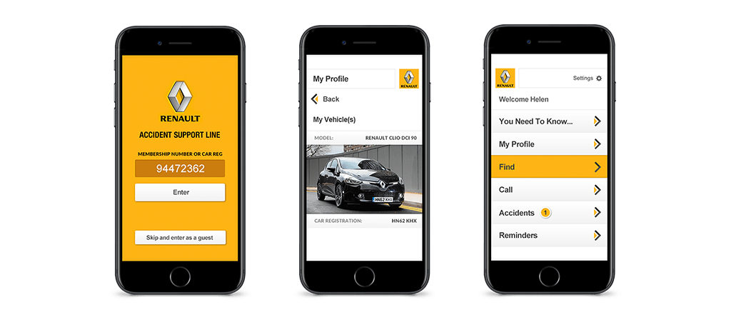 Renault's Accident Support Line mobile application