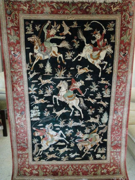 Fine Persian Silk Qum Rug Carpet-1