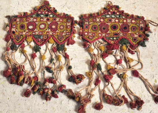ANTIQUE CEREMONIAL BULLOCK HEADDRESS PAIR
