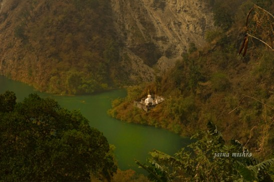 A monastery in a valley of the Himalayan foothills, Sikkim, India