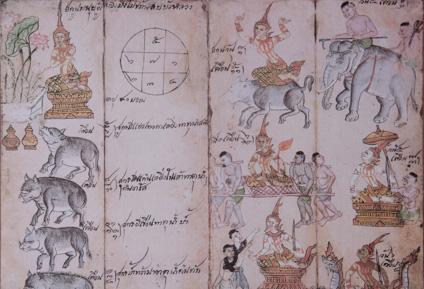 ANTIQUE THAI ASTROLOGICAL CALENDAR PAINTING
