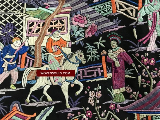 1255 w ANTIQUE DOUBLE SIDED EMBROIDERY - BLACK FIGURATIVE BABY SCENE - MANILA MANTON SILK SHAWL 31