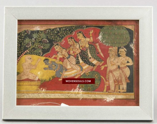 Antique Indian Miniature Painting Rare Digamber Jain Subject