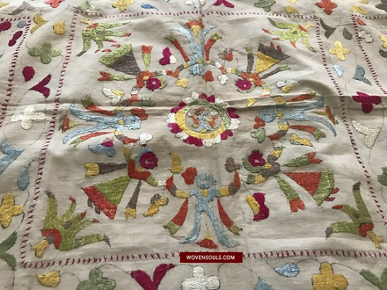 Antique Chamba Rumal - Double Sided SIlk Embroidery - TRADITIONAL TEXTILES of Himachal Pradesh