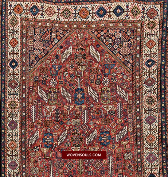 Antique Shekarlu Qashqai Rug with Animals