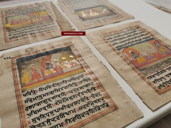 Antique Indian Miniature Painting Kashmir Gurmukhi Sikh Manuscript folios