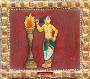 This image has an empty alt attribute; its file name is 1467-Antique-Thanjavur-Tanjore-Painting-Gemstones-Shiva-Parvati-33.jpg