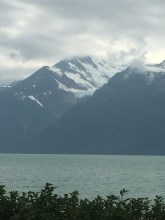 Hanging glacier across from Mud Bay Road