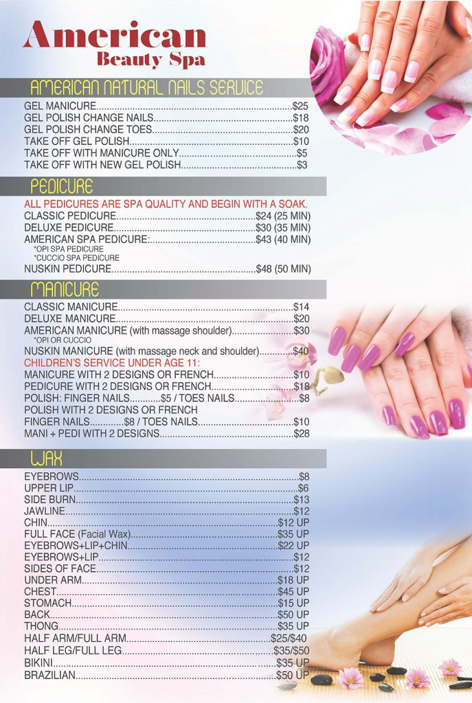 American Beauty Spa Menu