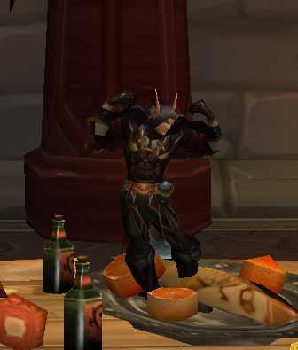 Yes, he is /flexing on top of the tables in the Horde inn. Table dancing anyone?
