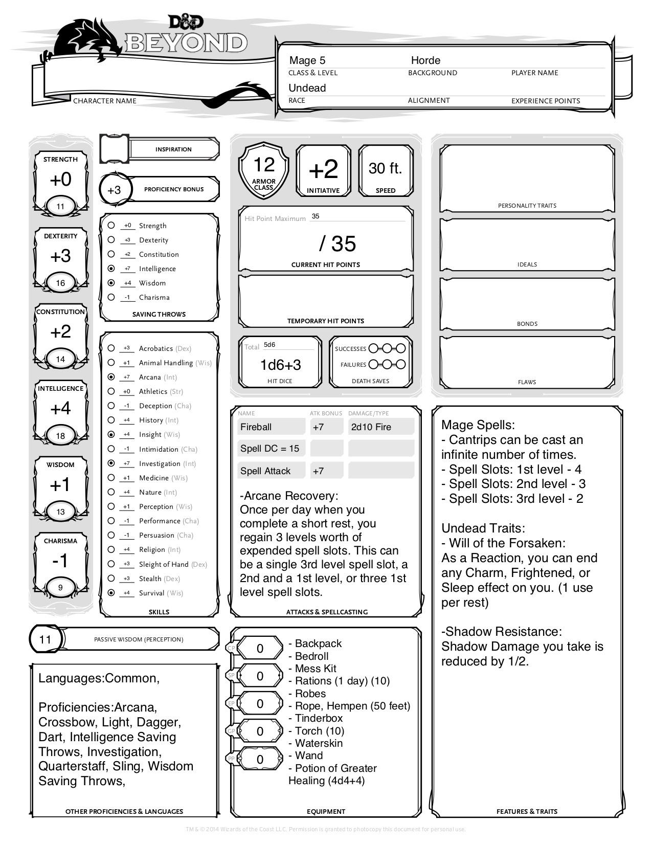 Terrible Dungeons And Dragons Printable Character Sheet