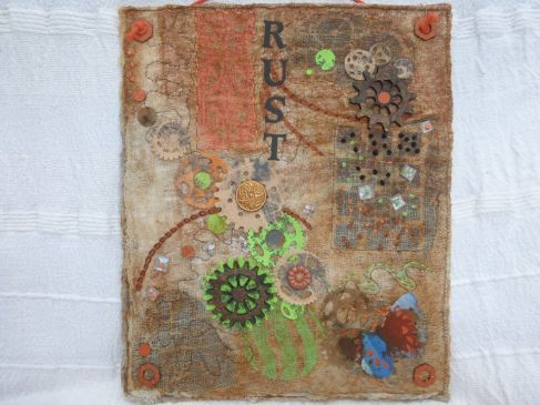 Sue Baxter. Carol McFee I have had my piece on the wall for a couple of weeks now and thought it was about time I posted. It is nothing like a book cover but I have used your excellent workshop ideas. I am now trying to combine rust, Katy Sue moulds and ideas from CCA .... should be an interesting result...