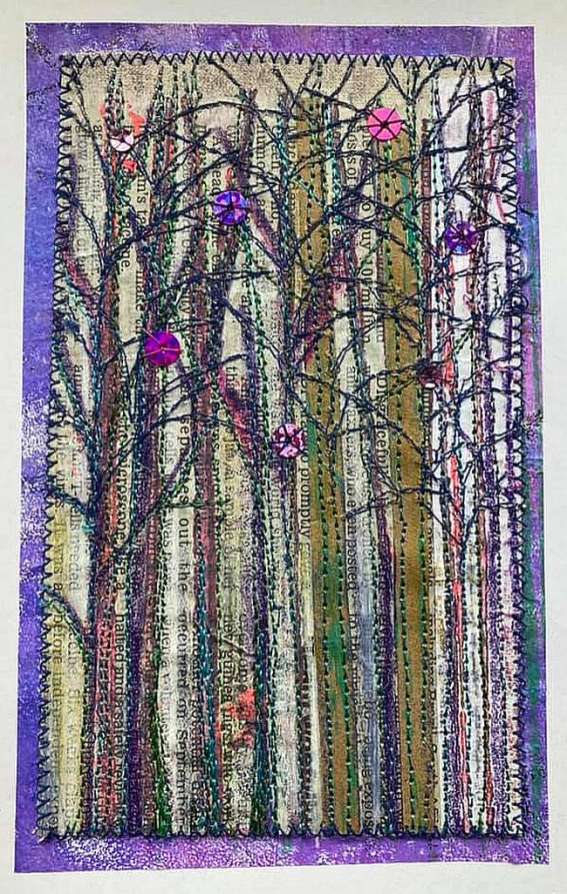 Jennifer Archer. Leamington branch of Embroiderer's Guild had their members day last Saturday via Zoom and we had to make something from one of our many books. I chose Wowbook 4 - Amanda Hislop's 'Unfolding Story'. I'm not keen on mustard yellows and greys so chose purple and blues like David Hockney's paintings. When I finished it I cut it up and made it into greetings cards.