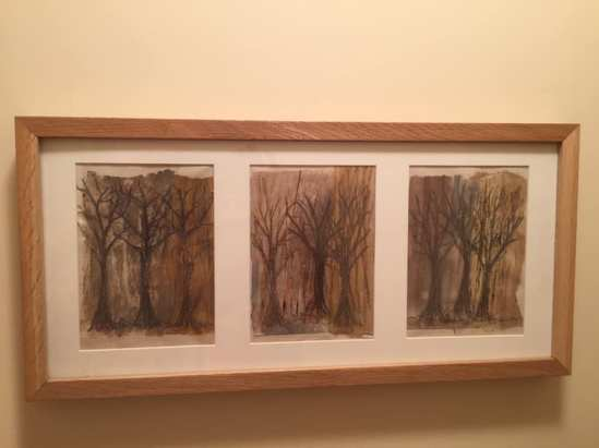 Jen Skedd. Had a go at Amanda Hislop's trees project today. As a result, I've now got a lovely new picture hanging in the smallest room while the long strip dries overnight. Loved doing this so I'm looking forward to my 4 day workshop with Amanda at Embroiderers Guild Summer School.
