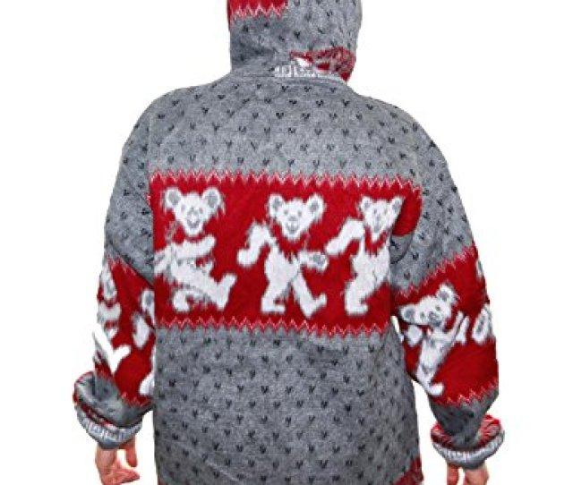 Grateful Dead Alpaca Style Zip Up Hooded Sweater Jacket Drug Rug Dancing Bears