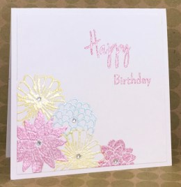 Hey Little Flower and Just Saying Clear Stamps with Strawberry Sundae, Banana Split and Mint macaroon embossing Powders