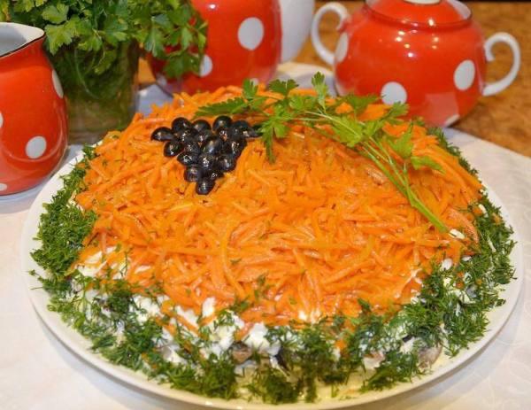 Салат Изабелла с курицей и корейской морковкой 👌 рецепт с ...
