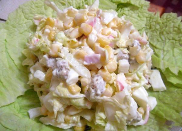 Салат из крабовых палочек с пекинской капустой рецепт 👌 с ...