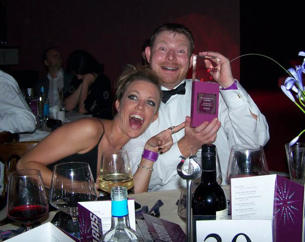 A rather drunk me at award ceremony - yes, I was that suprised!
