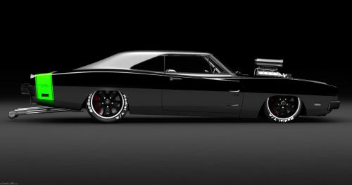 Black 1969 Dodge Charger R/T Race Car
