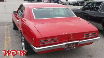 Red 1968 Pontiac Firebird Rear