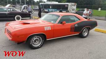Red 1971 Plymouth Cuda 383 Left Side