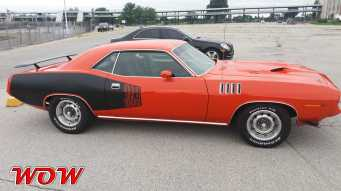 Red 1971 Plymouth Cuda 383 Right Side