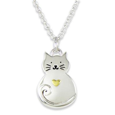 Sterling Silver Happy Cat Necklace