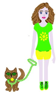 paper doll girl with cat on harness