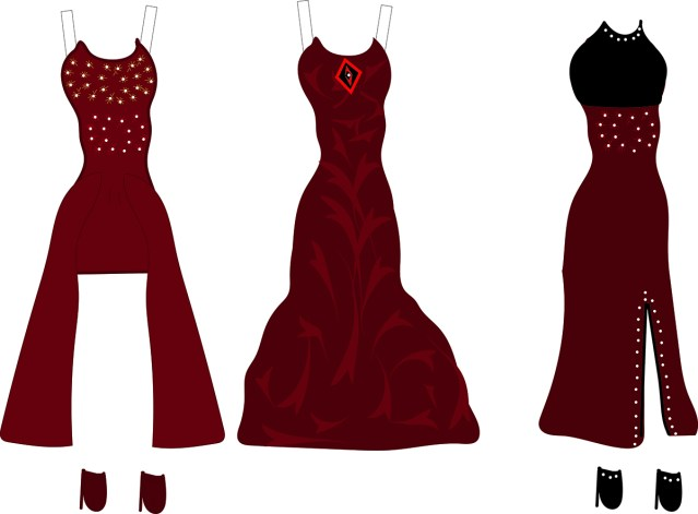 three paper doll evening gowns