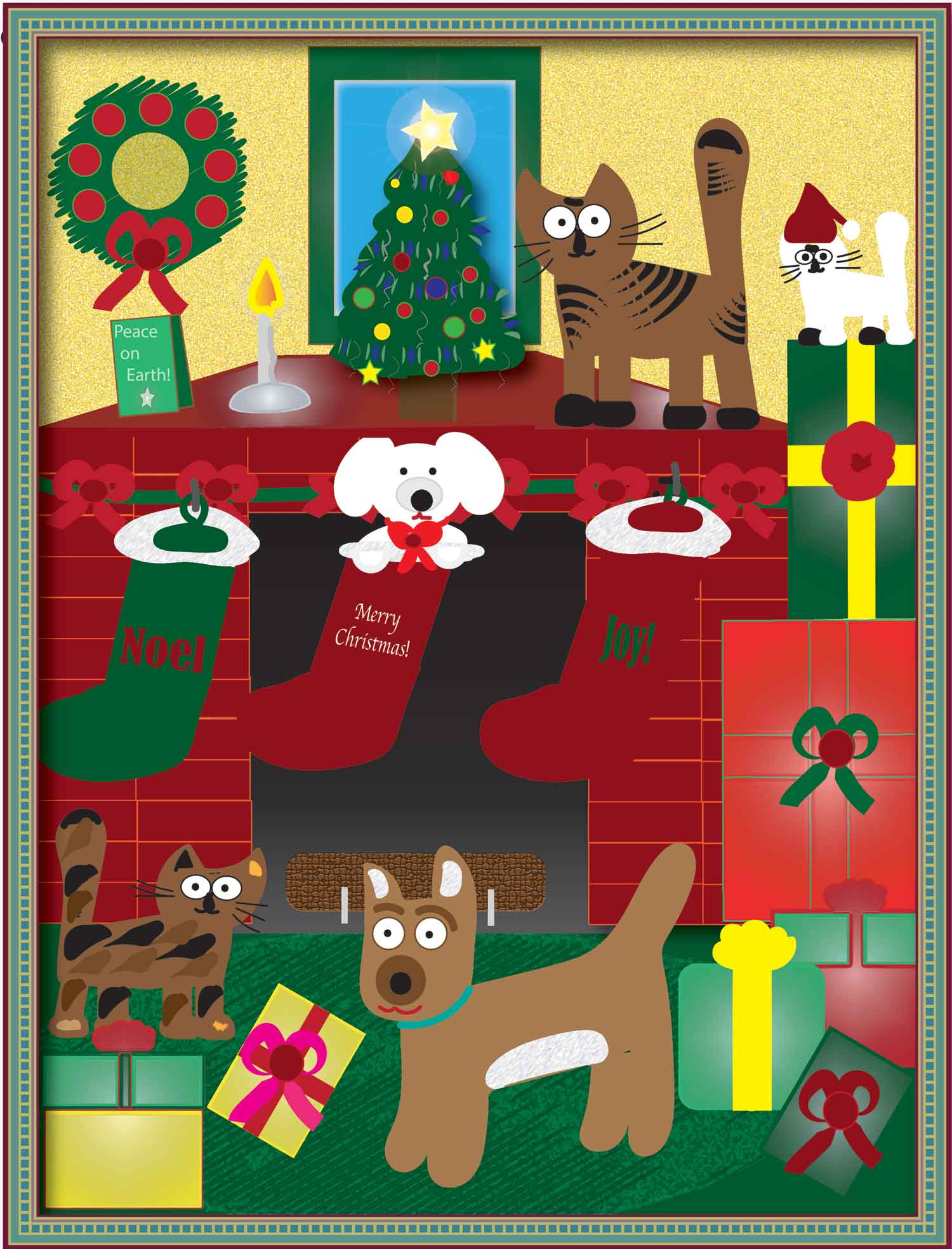 cats and dogs Christmas illustration