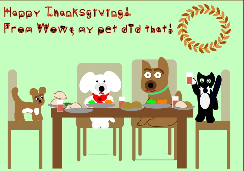 cat and dog Thanksgiving cartoon