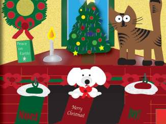 Dog and cat Christmas illustration
