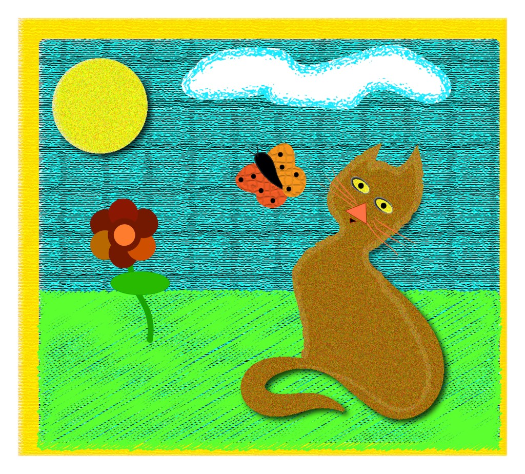 cat and butterly graphic