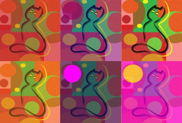 Warhol inspired pop art with cats