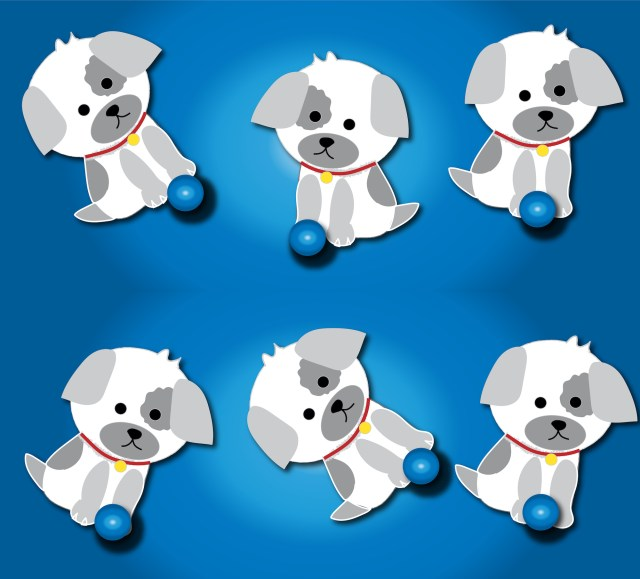 dogs with balls graphic