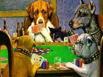 cat inserted in Dogs Playing Poker painting