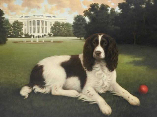painting of presidential dog, Millie