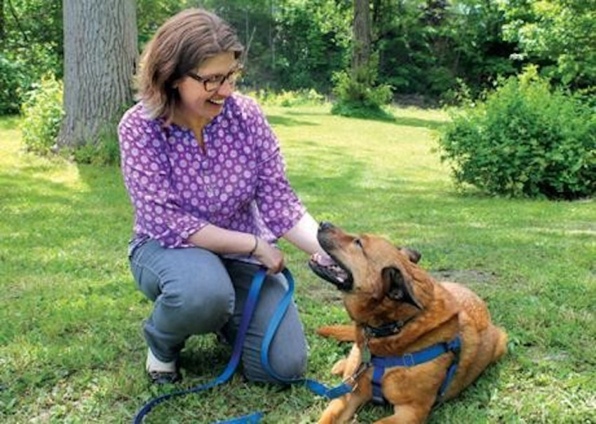 Christy Hoffman, Ph. D. and a dog
