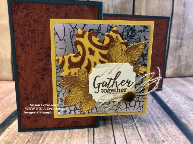 Gathered Leaves Double Z-Fold, Susan Levasseur, WOW NOLA Creations, Stampin' Up!