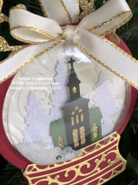 Snow Globe Christmas Ornament, Susan Levasseur, WOW NOLA Creations, Stampin' Up