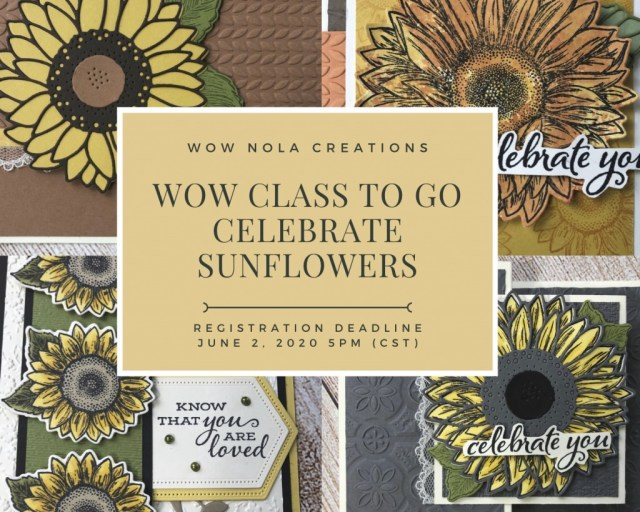 WOW Class to GO!, Celebrate Sunflowers, Susan Levasseur, WOW NOLA Creations, Stampin' Up!