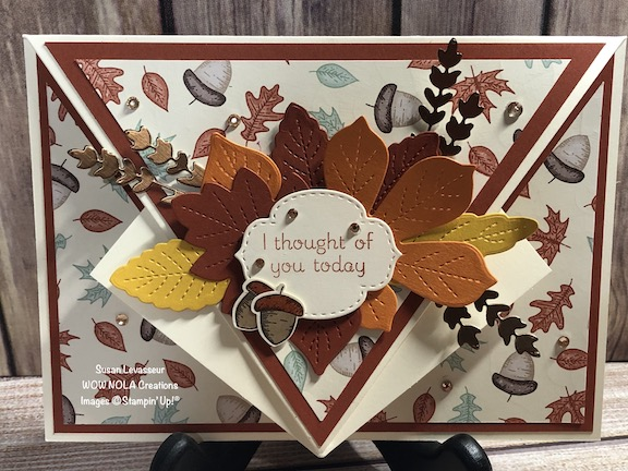 Arrow Fold with Love of Leaves, Susan Levasseur, WOW NOLA Creations, Stampin' Up!