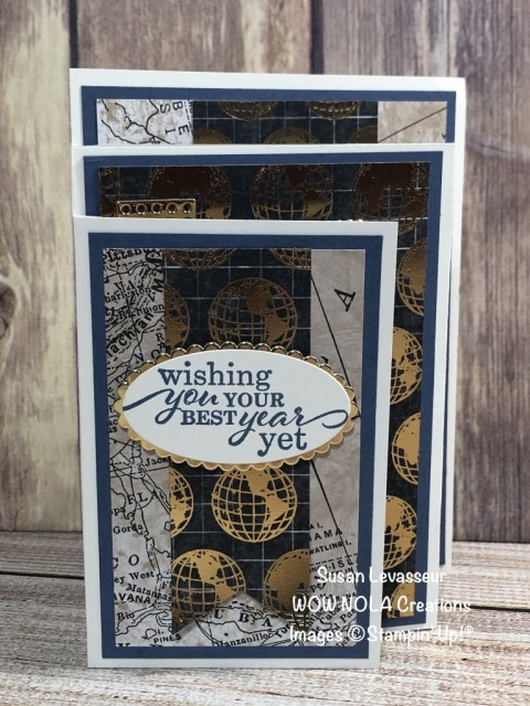 90th Birthday 4-Panel Fancy Fold, Susan Levasseur, WOW NOLA Creations, Stampin' Up!
