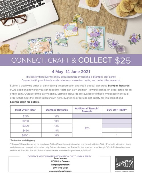 Stampin' Up! has Benefits Galore, Connect, Craft & Collect, Susan Levasseur, WOW NOLA Creations, Stampin' Up!
