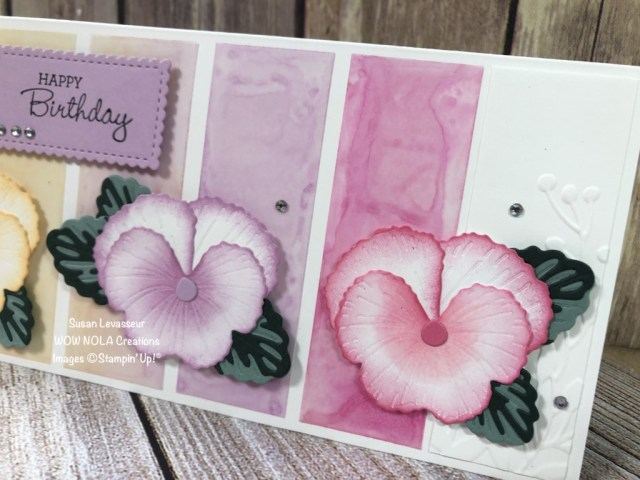 Pansy Slimline with Alcohol Ink Technique, Susan Levasseur, WOW NOLA Creations, Stampin' Up!