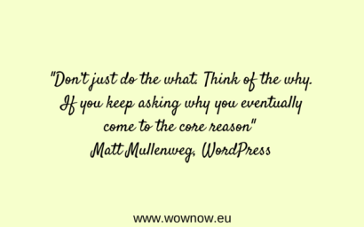 """Don't just do the what. Think of the why. If you keep asking why you eventually come to the core reason"" Matt Mullenweg"