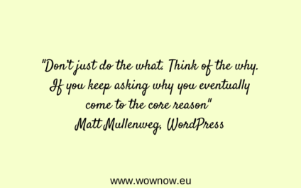 """""""Don't just do the what. Think of the why. If you keep asking why you eventually come to the core reason"""" Matt Mullenweg"""